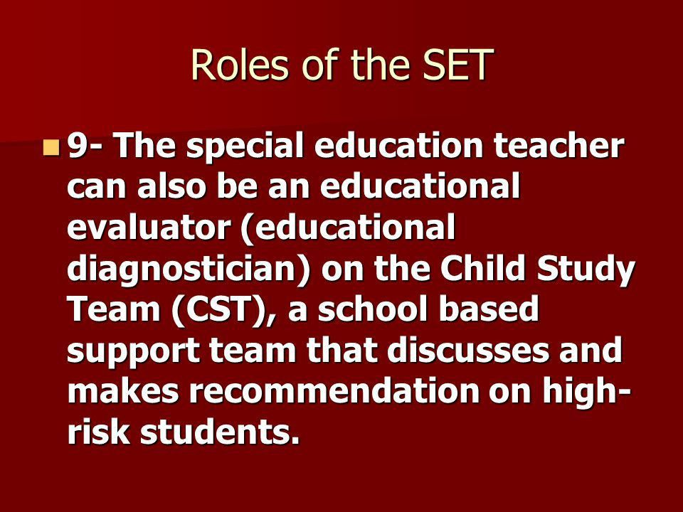 Roles and Responsibilities of the Special Education Teacher ...