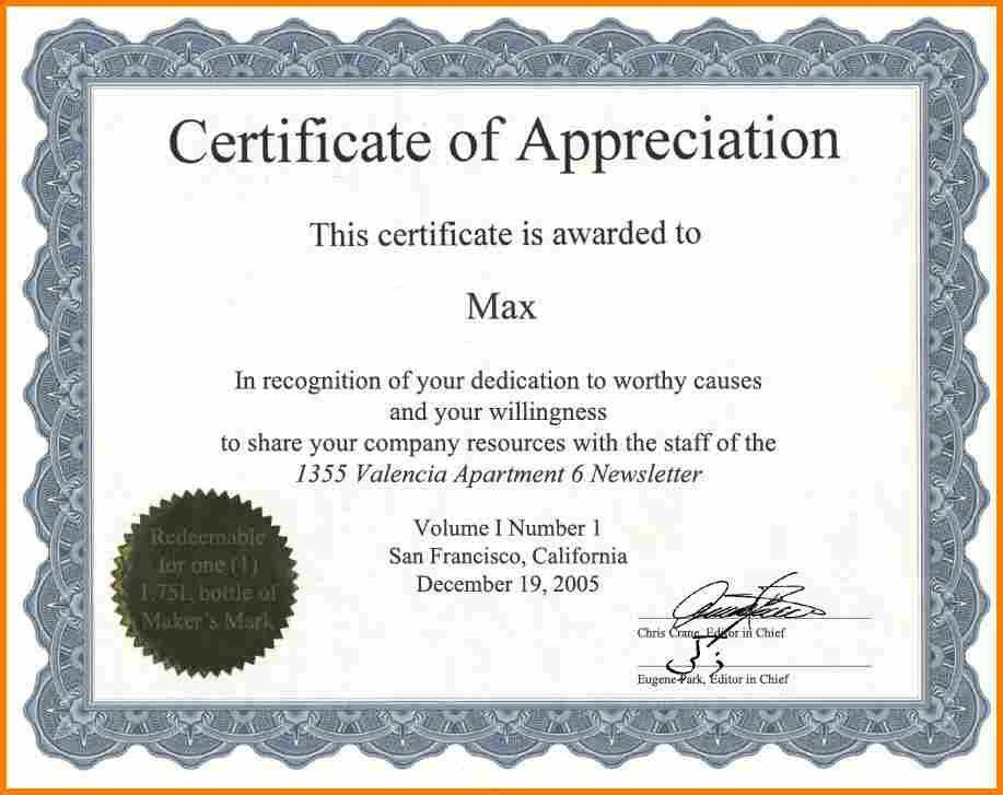 8+ certificate of appreciation wording | resume reference
