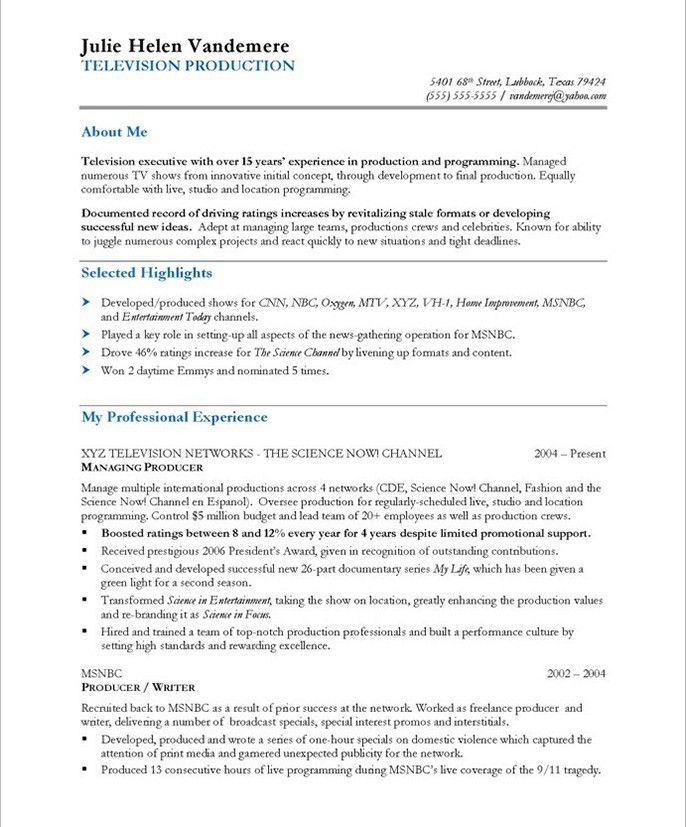 Resume Samples - TV Producer | Blue Sky Resumes Blog