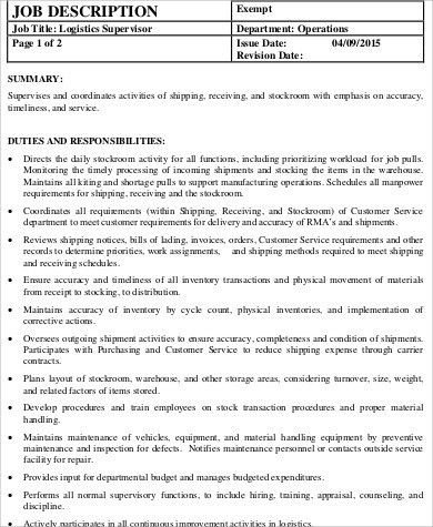 Delightful Logistics Supervisor Job Description Sample   7+ Examples In Word, PDF Amazing Ideas