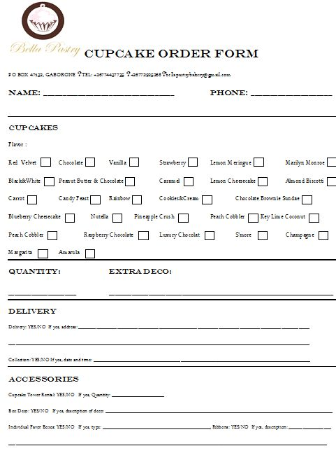 cake consultation form | Menus and Order Forms | business ...