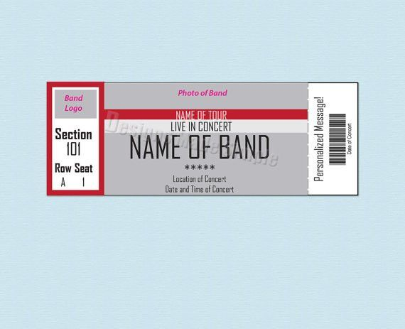 Ticket Templates Free Download Template Sample Of Concert Ticket   With Simple Design And Rectangular Shape And Gray White Red Colors