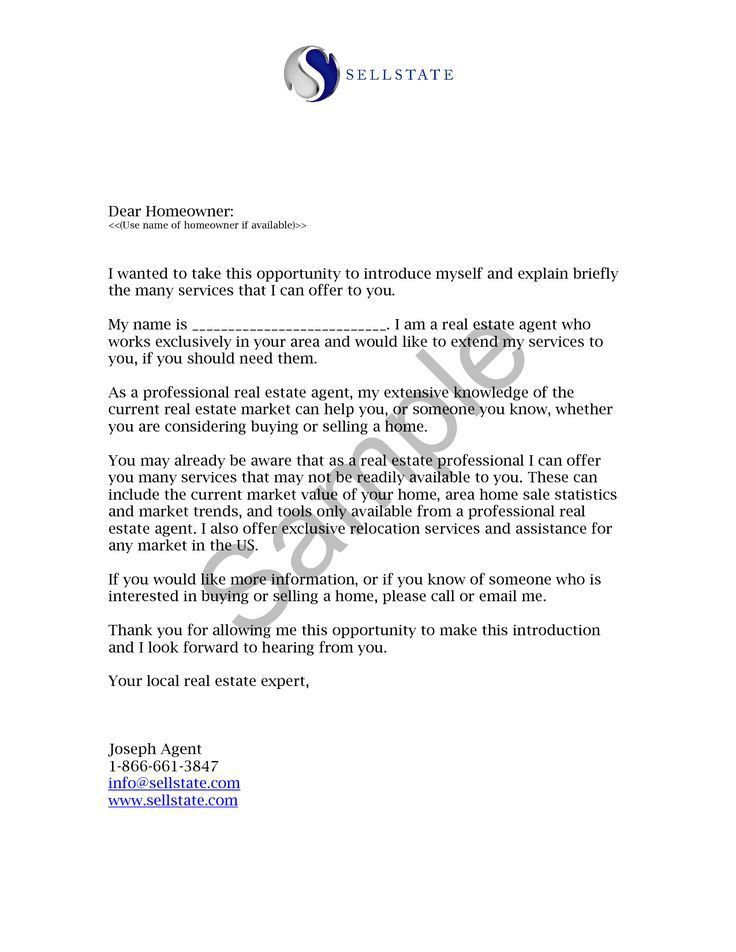 Best Ideas of Real Estate Agent Introduction Letter Sample On ...