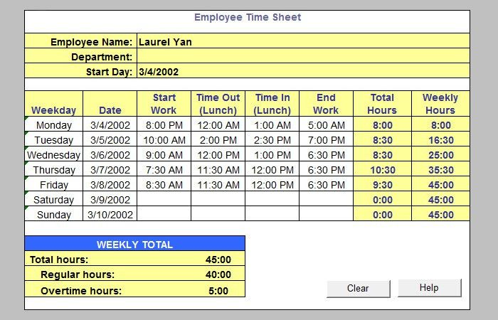 excel work timesheet - Template