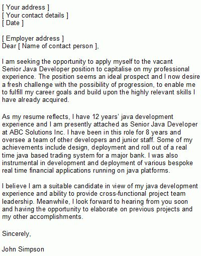 Programmer Covering Letter Sample