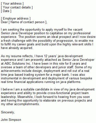 Programmer Covering Letter Sample