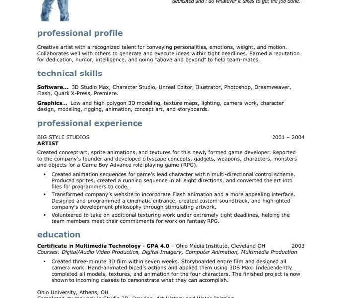 Production Artist Resume [Template.billybullock.us ]