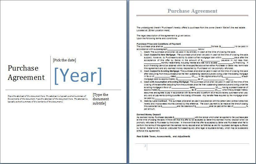 MS Word Purchase Agreement Form Template | Word & Excel Templates
