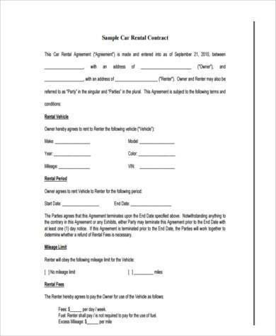 Car Lease Form. Car Rent Contract Form Example 8+ Rent Contract ...