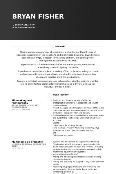 Film Resume samples - VisualCV resume samples database