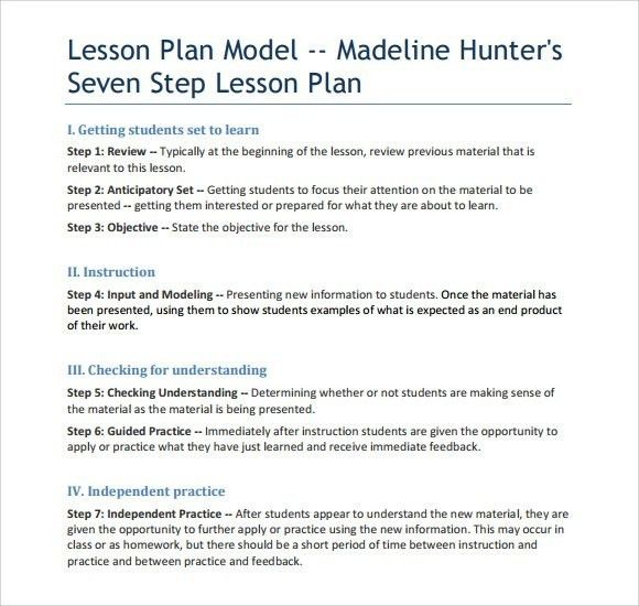 Madeline Hunter Lesson Plan Format | Template idea