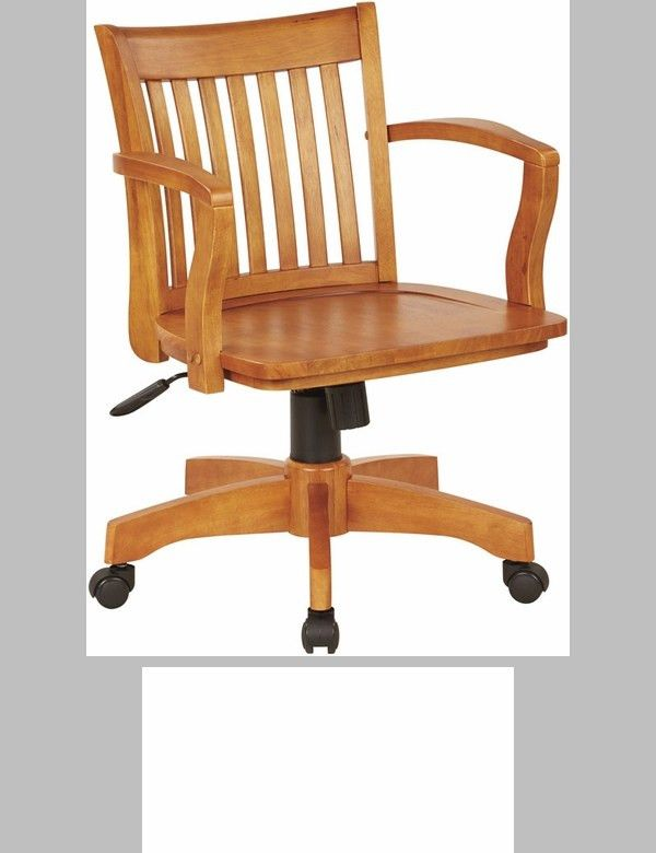 OSP Designs Deluxe Armless Wood Banker's Desk Chair with Wood Seat ...