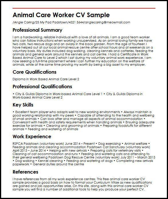 Animal Care Worker CV Sample | MyperfectCV