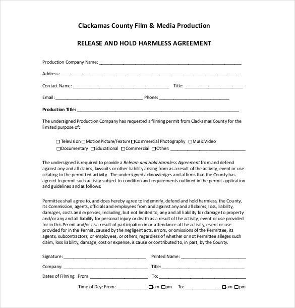 Release Of Liability Letter Template Liability Release Form – Hold Harmless Agreement Template