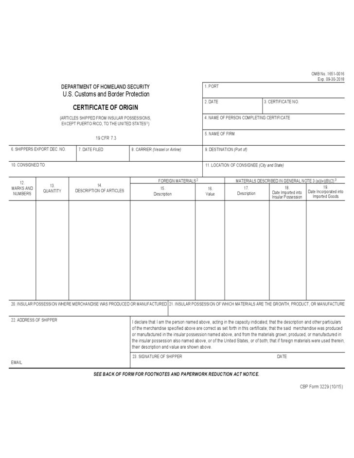 CBP Form 3229 - Certificate of Origin Free Download