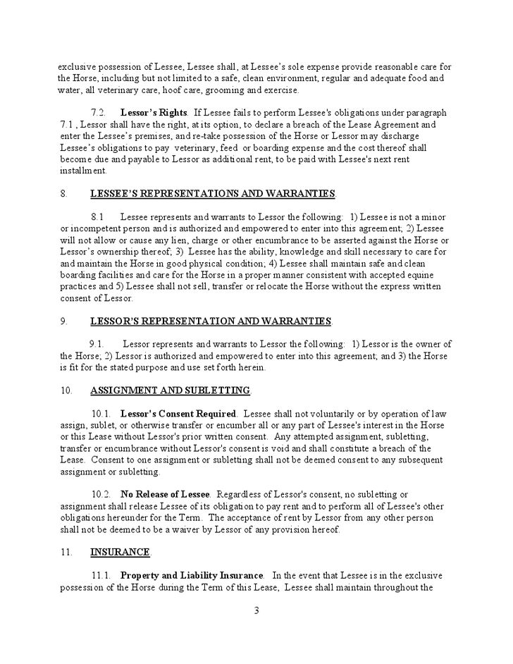 Free Lease Agreement For A Horse | Create professional resumes ...
