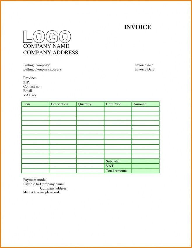 Invoice Template Word Download Free Uk | Design Invoice Template