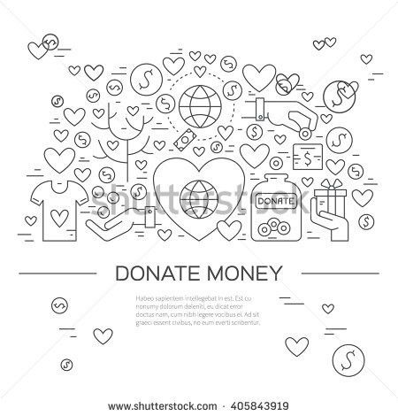 Banner Template Charity Donation Icons Symbols Stock Vector ...