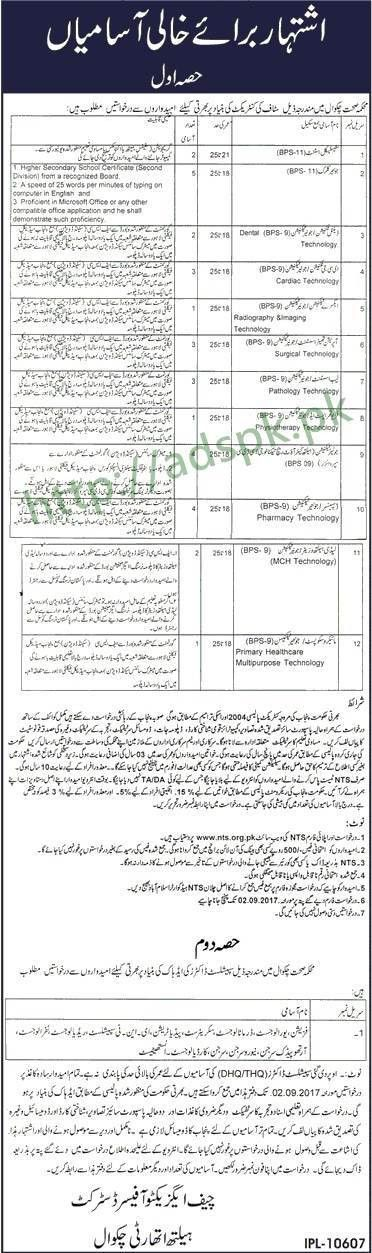 NTS Jobs District Health Authority DHA Chakwal Jobs 2017 NTS ...