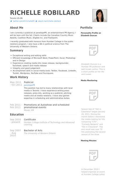 Publicist Resume samples - VisualCV resume samples database