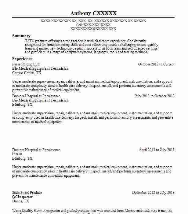 Best Medical Equipment Technician Resume Example | LiveCareer