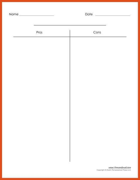 Elegant T Chart Template | Moa Format Gallery