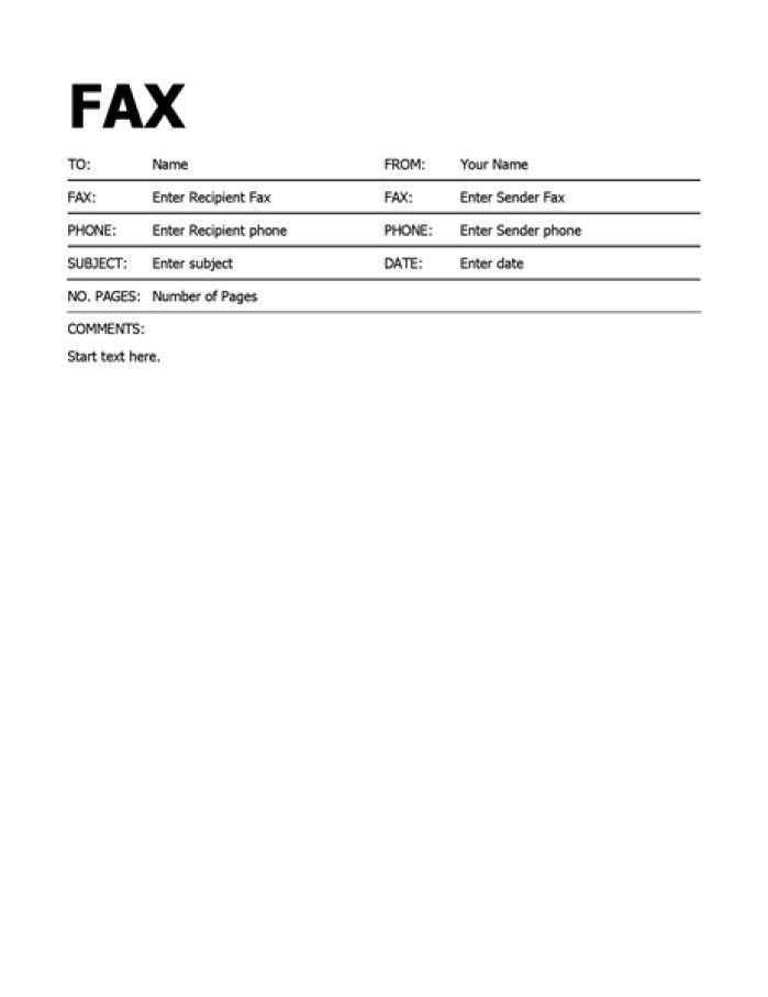 Fax Letter Cover Sheet