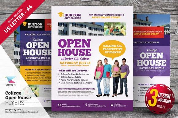 College Open House Flyer Templates | Flyer template, Open house ...