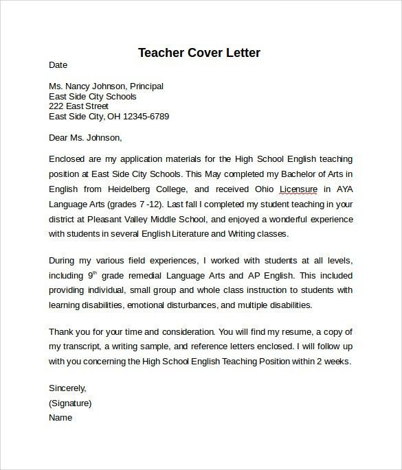 Wonderful Design Ideas Teaching Cover Letter Example 1 Best ...