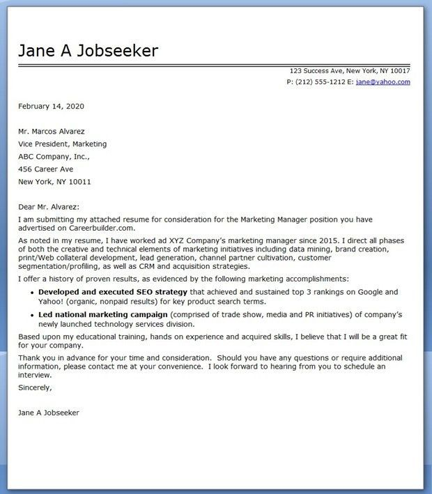Marketing Manager Cover Letter - My Document Blog