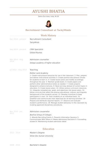 Recruitment Consultant Resume samples - VisualCV resume samples ...