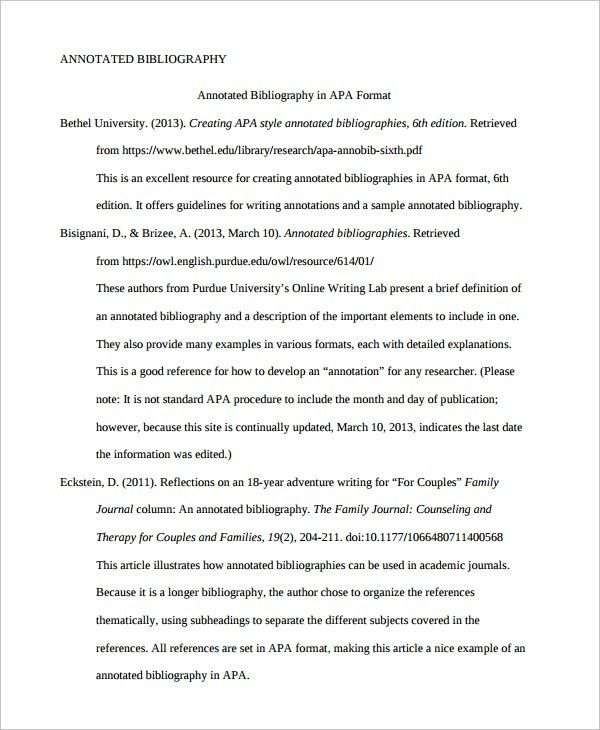 Apa version 6 annotated bibliography example
