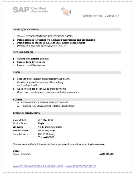 85 remarkable samples of resume examples resumes. excellent sap sd ...
