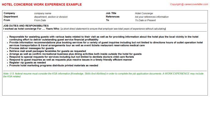 Hotel Concierge Job Title Docs