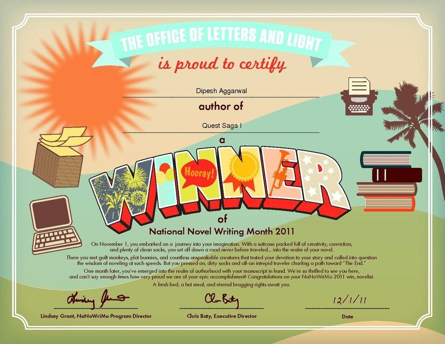 My NaNoWriMo Winner Certificate by DragoonHP on DeviantArt
