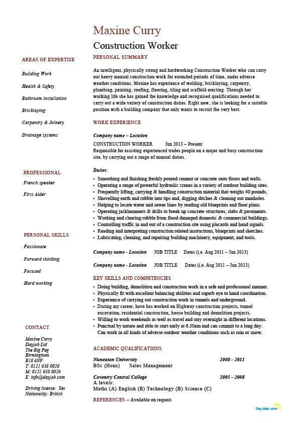 Construction worker resume, building, example, sample, job ...
