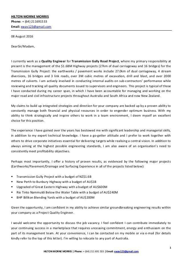 Hilton Morris Cover Letter Resume - LinkedIn 09082016