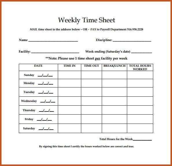 Weekly Timesheet Template | Sop Example