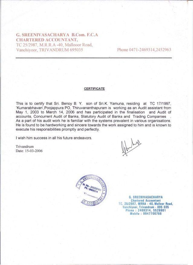 Audit Clerk Experience Certificate