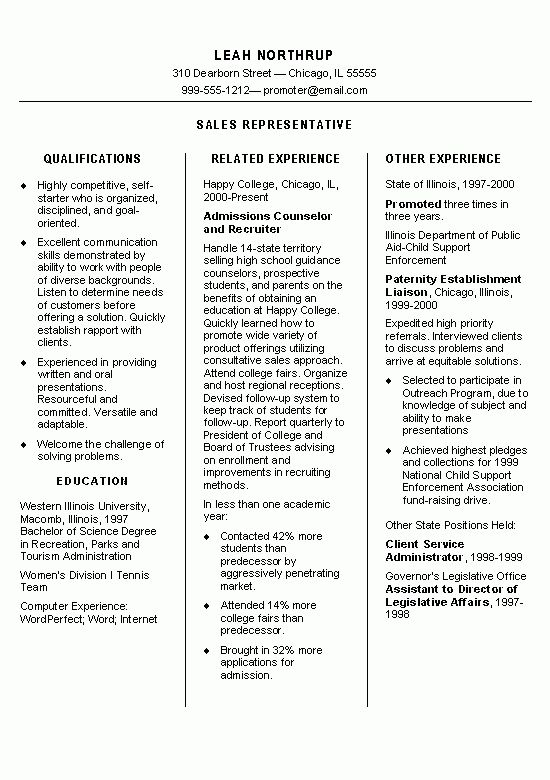 Representative Resume Example