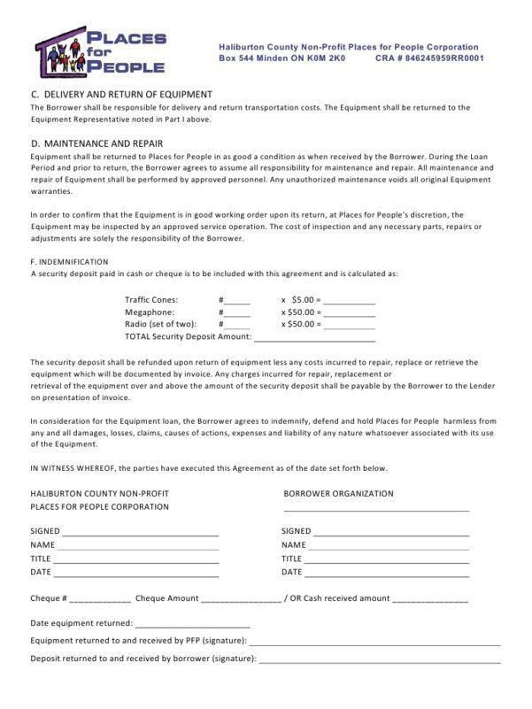 Simple Equipment Loan Agreement Form Equipment Loan Agreement ...