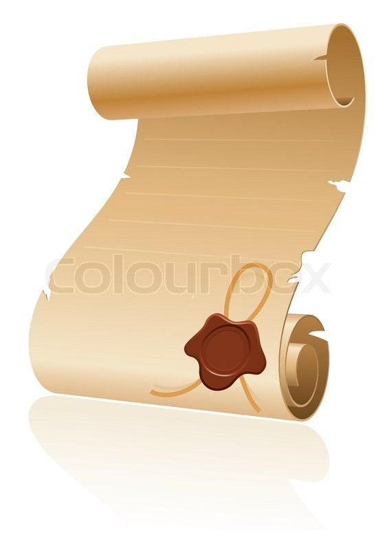 Old Scroll Paper with Sealing Wax on White Background, template ...