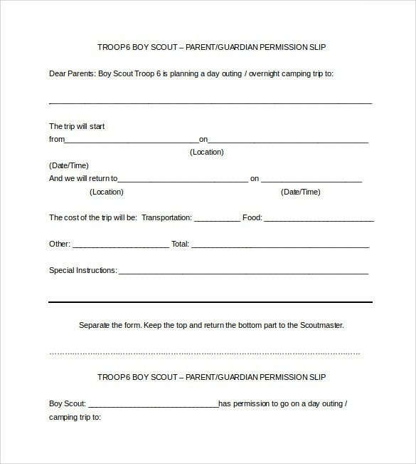 Permission Slip Template. Download Word Template · Permission ...
