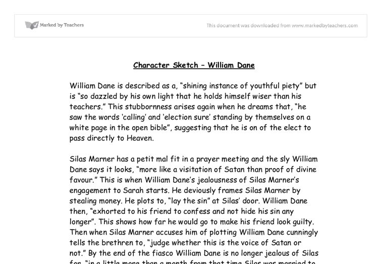 Character Sketch - William Dane - GCSE English - Marked by ...
