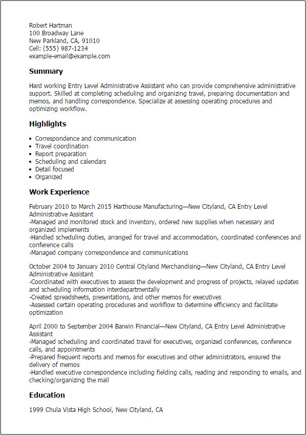 Download Administrative Support Resume Samples ...