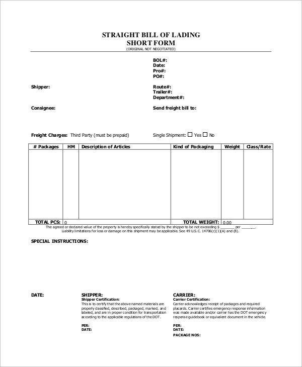 Sample Bill of Lading Form - 8+ Examples in Word, PDF