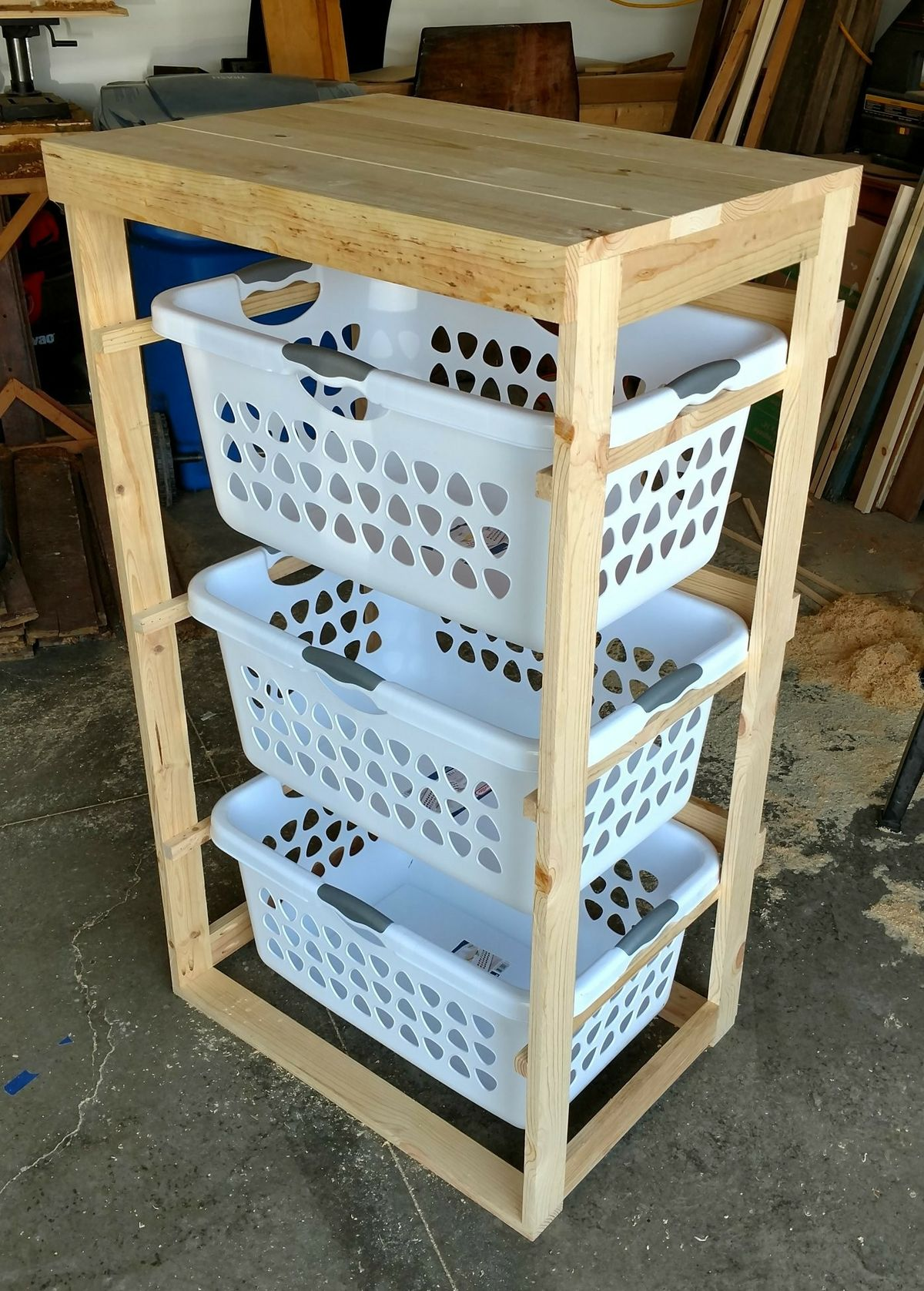 20 tier laundry rack. Total cost to build including 20 laundry baskets ...