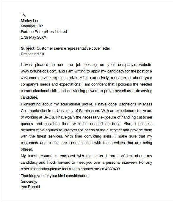 28+ Cover Letter For Technical Support Representative | Customer ...