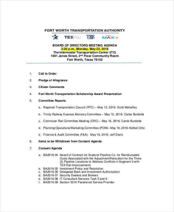 Strategy Meeting Agenda Template – 10+ Free Word, PDF Documents ...