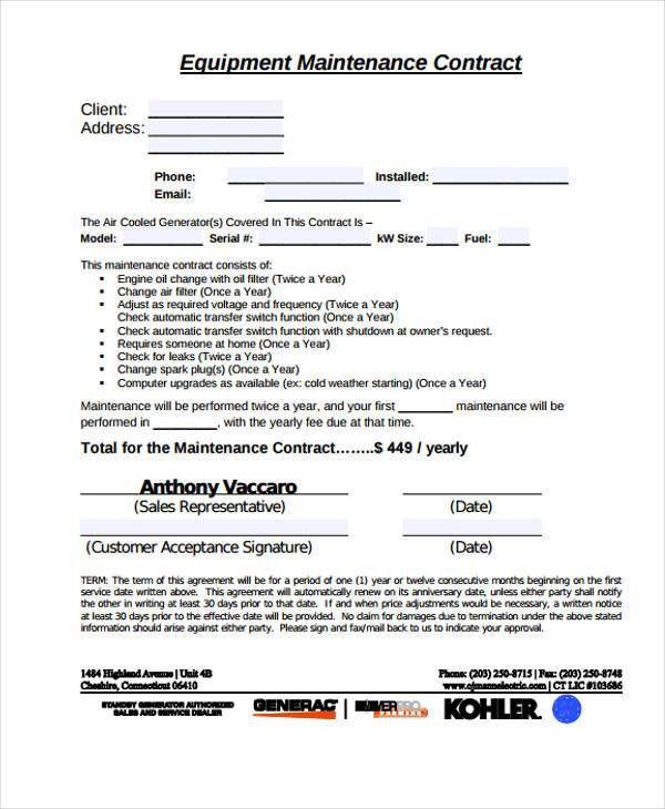 maitenance contract